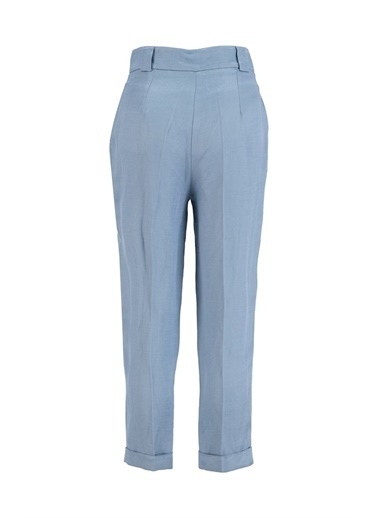Setre Güneş Turuncusu Keten Rayon Parlak Kumaş Pantolon Mavi